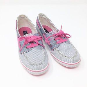 SPERRY Silver and Pink Sparkle Stripe Boat Shoes